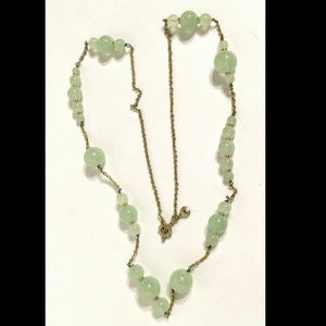 J Crew  Green Glass Bead Gold Tone Necklace 32""